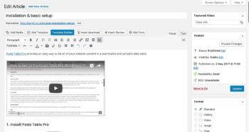 WordPress knowledge base plugin article - back end