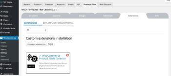 Install AJAX filter product table plugin