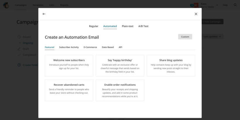 MailChimp create RSS automated campaign