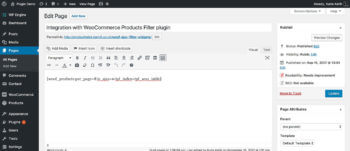 WooCommerce product table AJAX filters