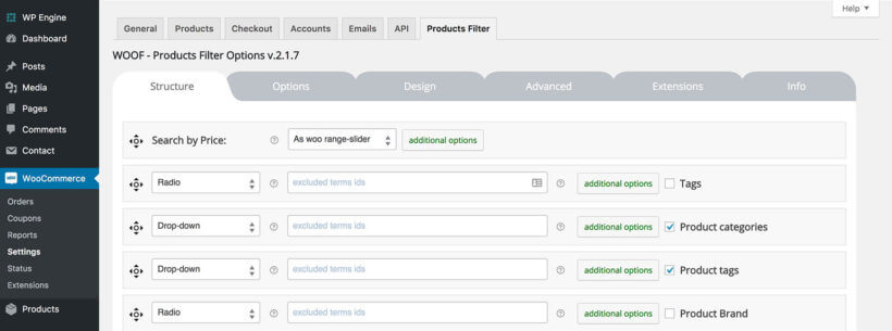 WooCommerce WOOF product filters plugin settings