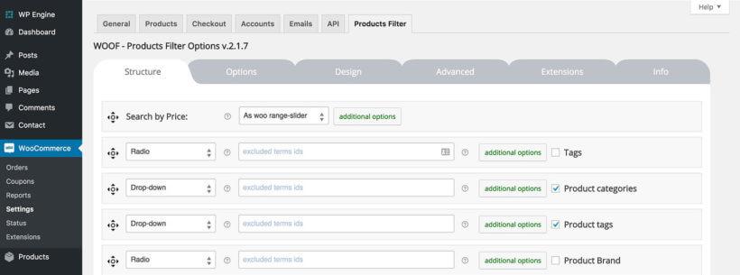 WooCommerce WOOF product filters plugin settings