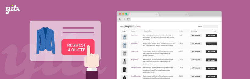 WooCommerce product table with request a quote buttons