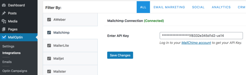 MailOptin MailChimp API key