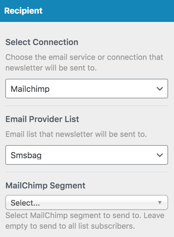 MailOptin select recipient