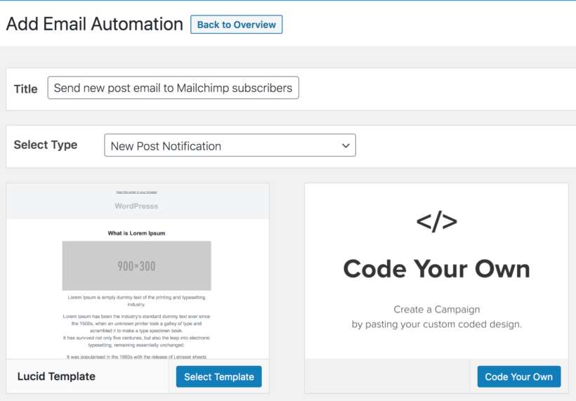 MailOptin set up email