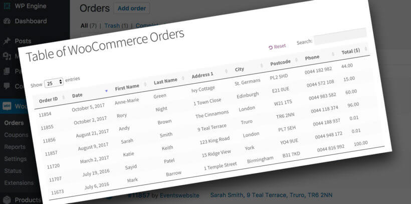 List WooCommerce Orders Front End
