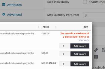 WooCommerce Maximum Quantities in Table