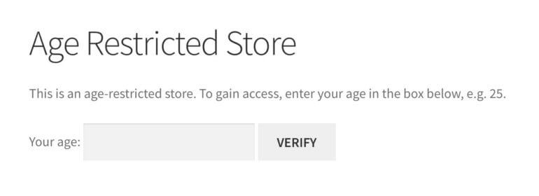 WooCommerce age restricted store plugin