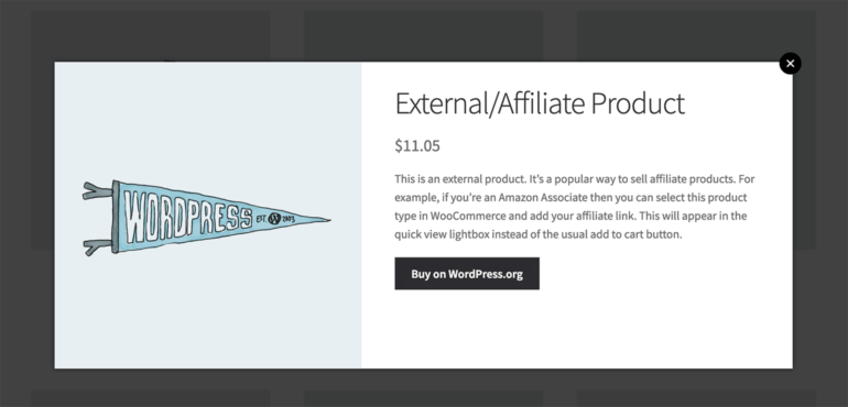 WooCommerce external affiliate product quick view