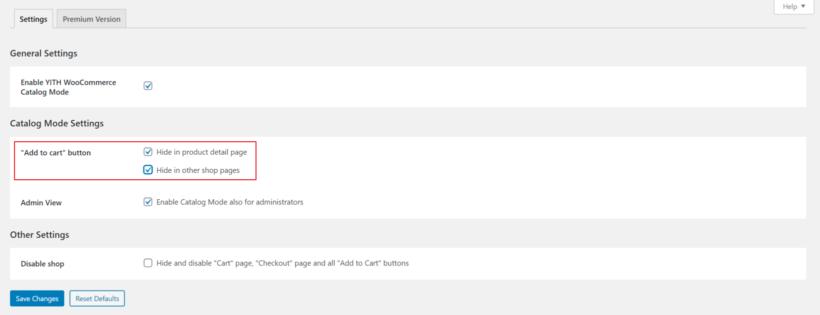 YITH WooCommerce Catalog Mode plugin settings