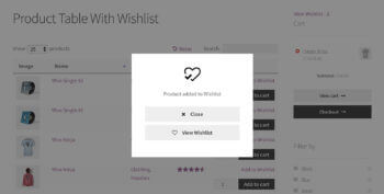 WooCommerce added product to wishlist in table