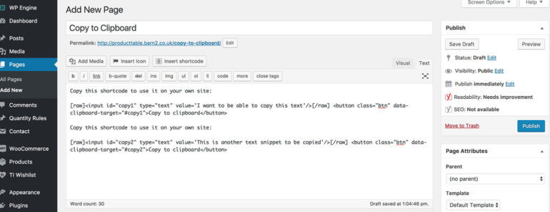 Copy to Clipboard WordPress Plugin