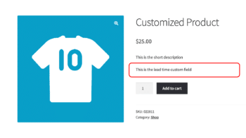 WooCommerce custom field data over add to cart button