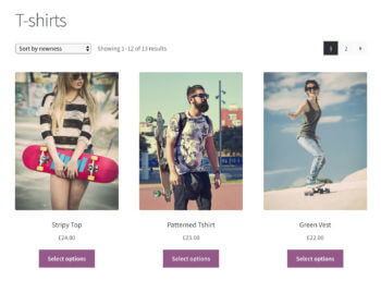 WooCommerce category page without variations drodown