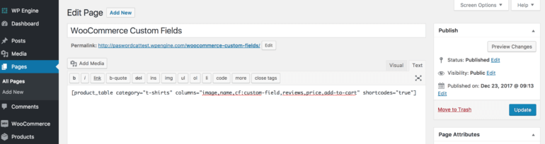 WooCommerce custom field add to page
