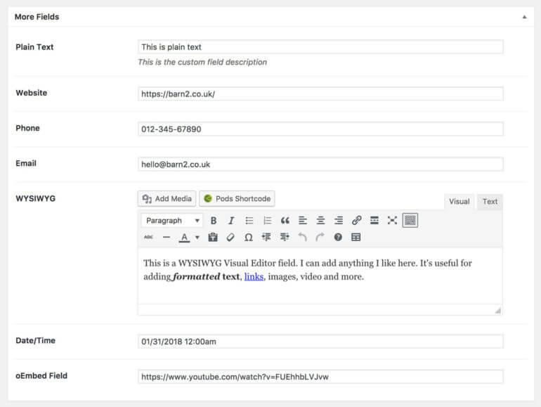 Add WordPress custom fields Pods plugin