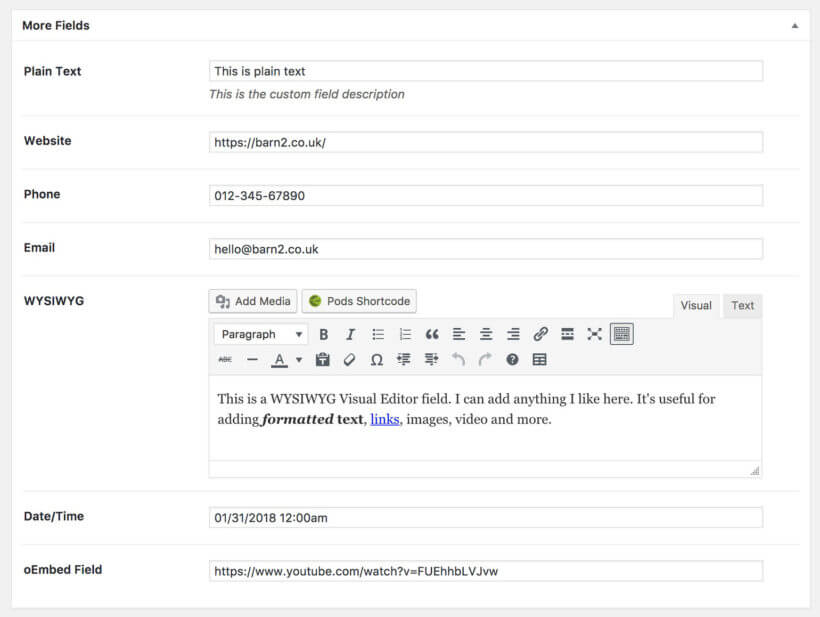 Add WordPress custom fields Pods plugin