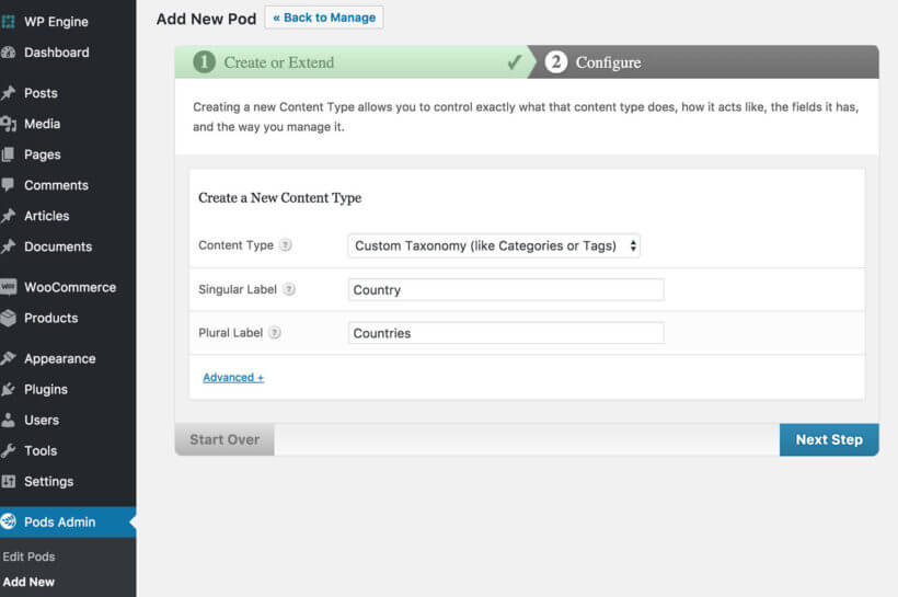 Create WordPress Custom Taxonomy Pods