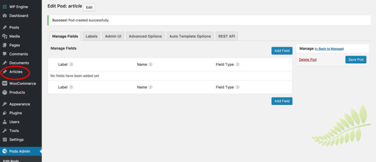 Edit Pod screen with WordPress custom post type link