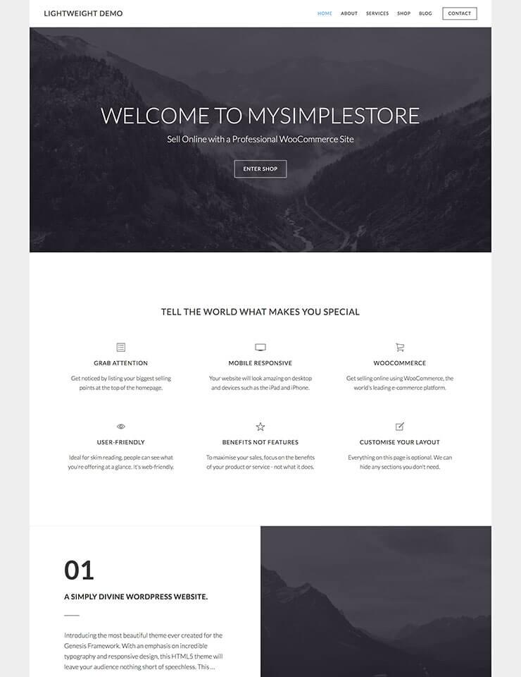 Lightweight WooCommerce Website Demo