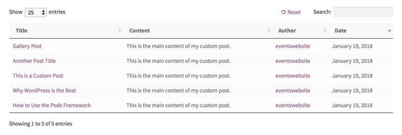 List WordPress custom post types on website