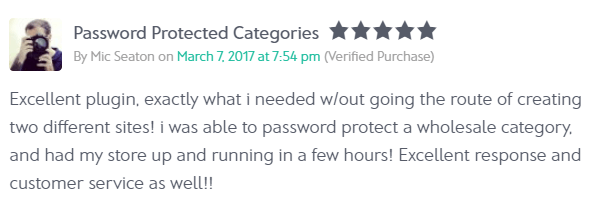 Review of Password Protected Categories