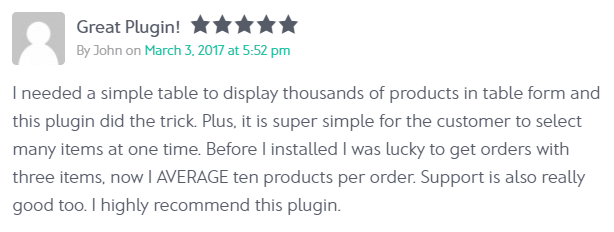 Customer review of WooCommerce Product Table quick order form