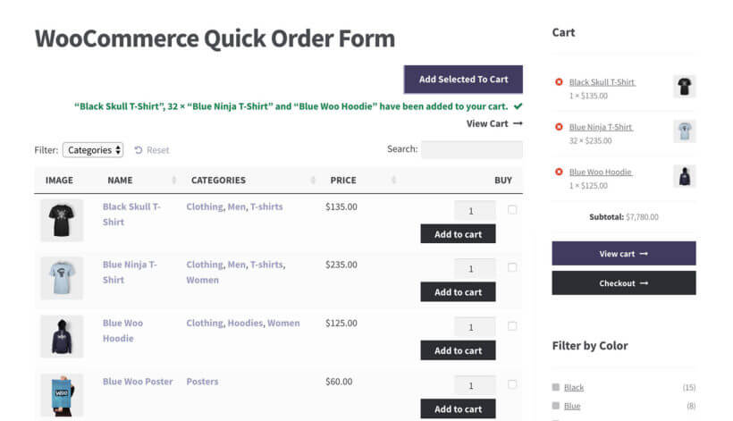 WooCommerce order form cart widget
