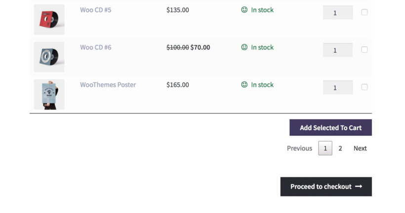 WooCommerce product table with proceed to checkout button