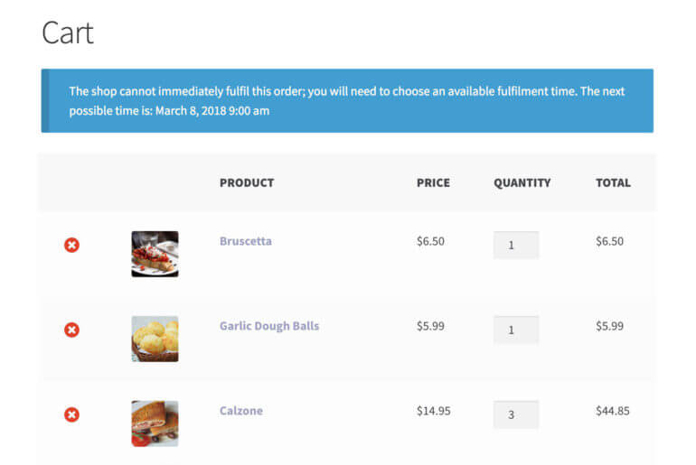 WooCommerce restaurant opening hours, WordPress food delivery plugin