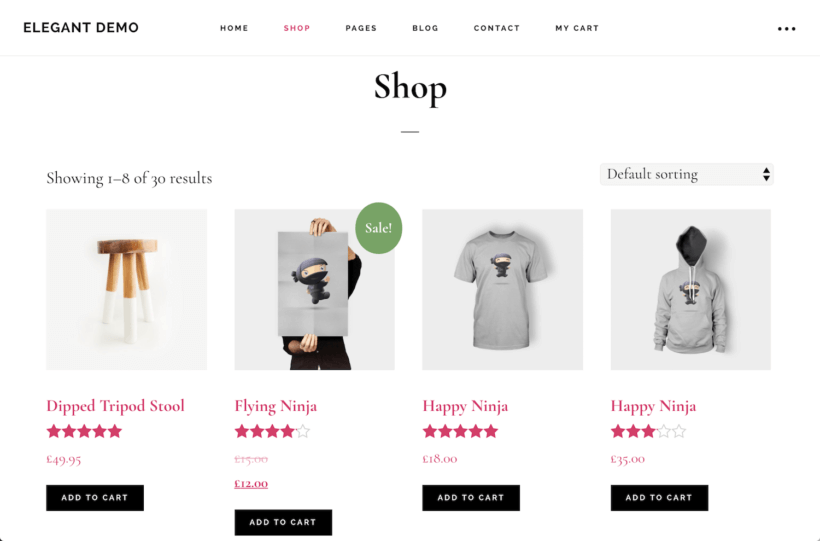 Default WooCommerce layout example