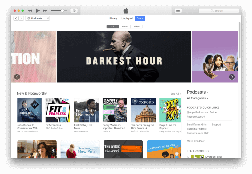 Screenshot of the iTunes podcast library