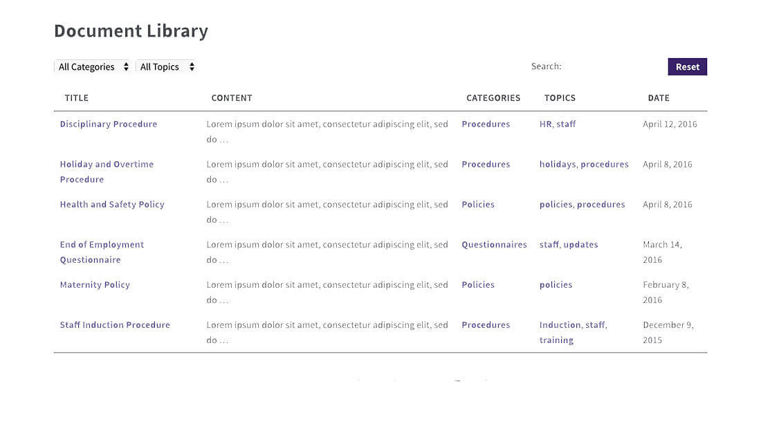 Private WordPress document library.