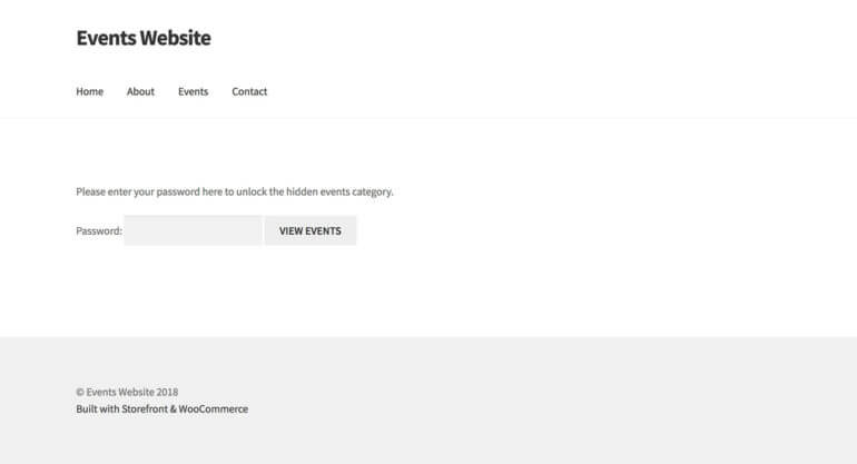 Password proteted WordPress events plugin login page