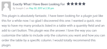 Review of WooCommerce Product Table