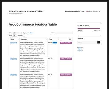 WPML WooCommerce Product Table English