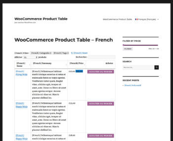 WooCommerce Product Table WPML Plugin French