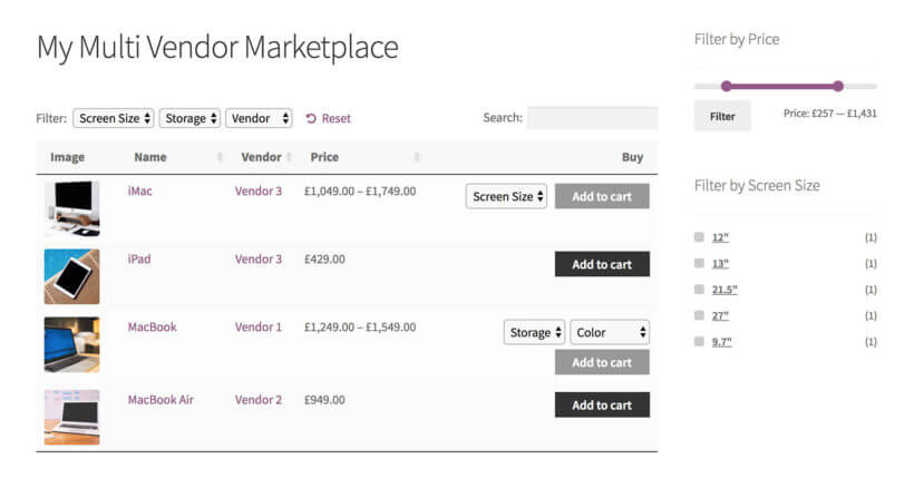 WooCommerce multi vendor plugin with product tables