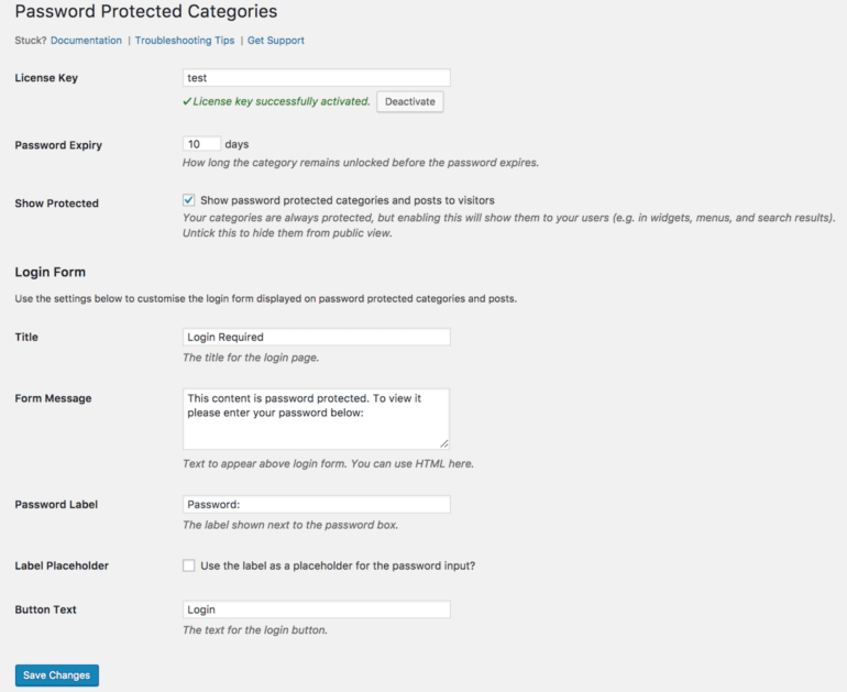 Password protected blog categories settings.