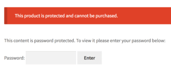 Password protected individual WooCommerce product.
