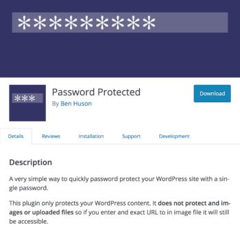 Password Protected plugin.