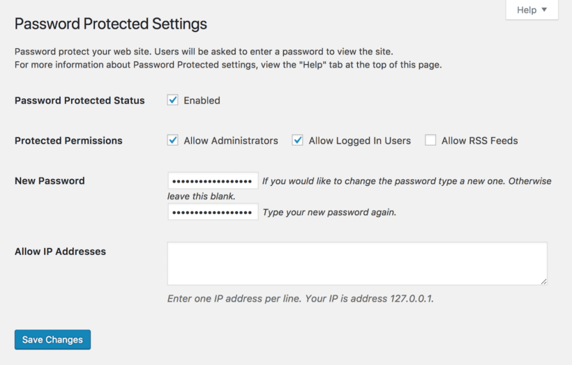 Password Protected settings.