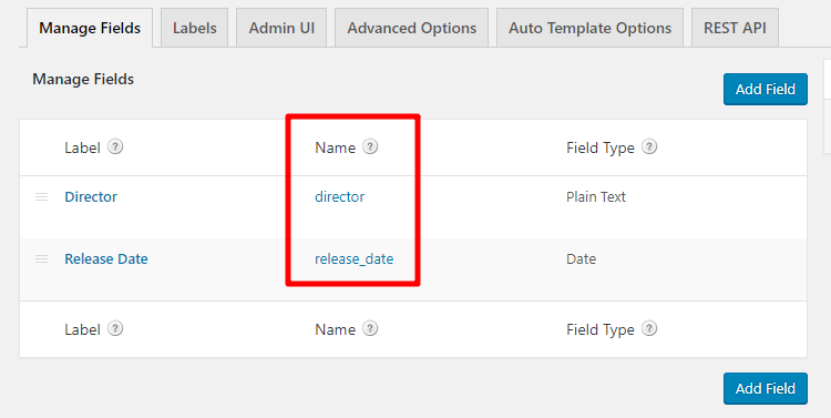 custom field names