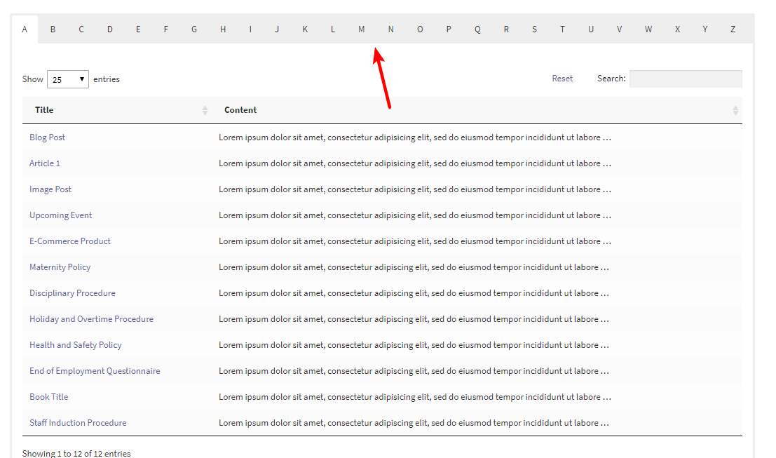 example of wordpress a-z listing tabs