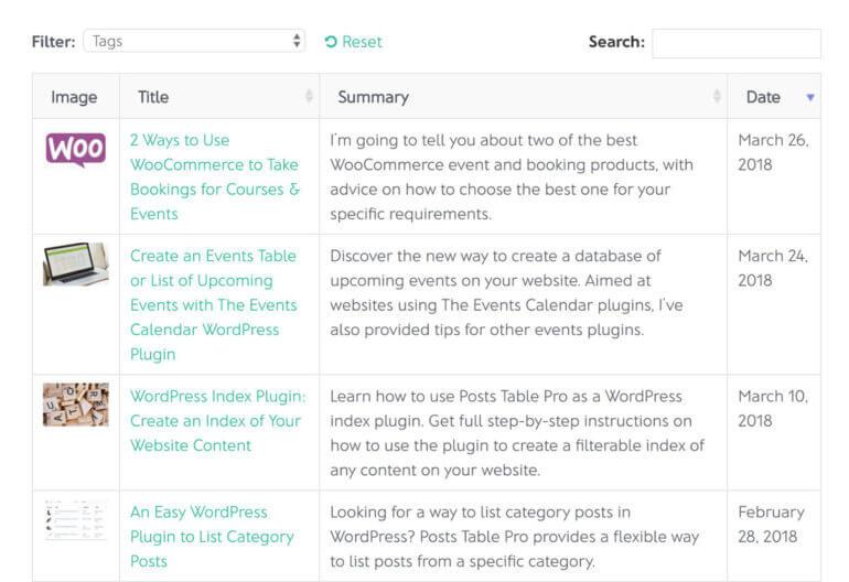 List WordPress posts plugin