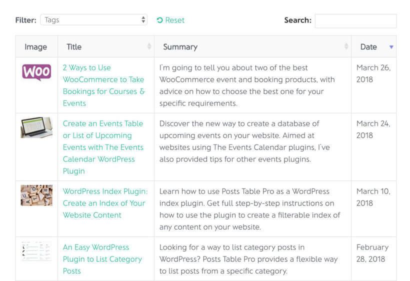 List WordPress posts plugin