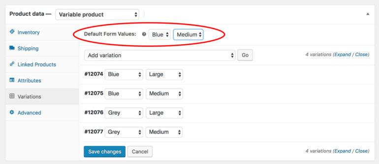 WooCommerce Default Variations Plugin