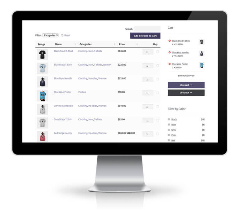 WooCommerce product table with widgets