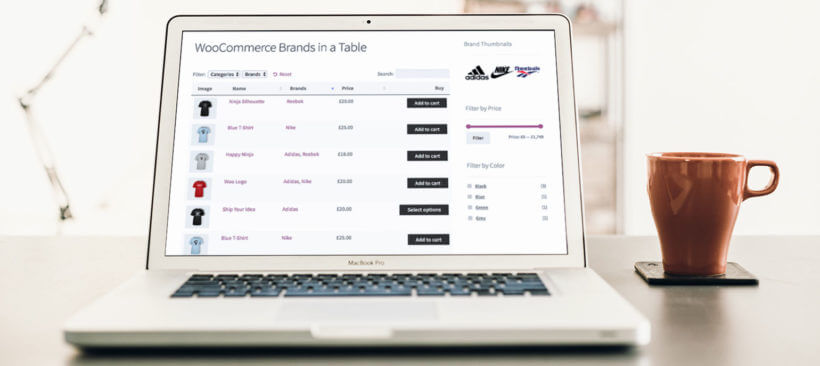 WooCommerce brands product table plugin